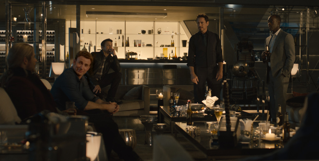 "Marvel's Avengers: Age Of Ultron..Thor (Chris Hemsworth), Steve Rogers/Captain America (Chris Evans), Clint Barton/Hawkeye (Jeremy Renner), Tony Stark/Iron Man (Robert Downey Jr.) and James ""Rhodey"" Rhodes/War Machine (Don Cheadle)..Ph: Film Frame..?Marvel 2015"